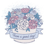 Vector color sketch, holiday flower bouquet with good wish. Vector color sketch with good day wish, festive holiday flower bouquet with roses, peonies, twigs and Stock Photos