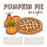 Vector color sketch pumpkin pie reciep, lime art, hand drawn illustration vector illustration