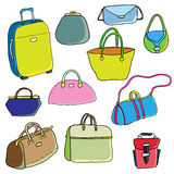 Vector color sketch. Set of bags. Stock Image
