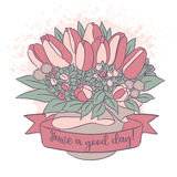 Vector color sketch, tulip bouquet with good wish. Vector color sketch with good day wish, festive holiday flower bouquet with tulip, twigs and leaves in the box Royalty Free Stock Photos