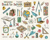 Vector color sketches set of school items Royalty Free Stock Image