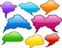 Vector color speech bubbles. Glossy det of vector shiny glass speech bubbles Stock Photo