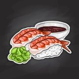 Vector color sticker, Ebi Nigiri Sushi Royalty Free Stock Photos