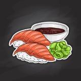 Vector color sticker, Sake Nigiri Sushi Stock Photos