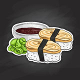 Vector color sticker, Tamago Nigiri Sushi Royalty Free Stock Photo