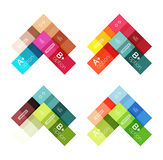 Vector color stripes infographics templates. With sample option text, isolated on white. Geometric business abstract layouts for your message or figure Stock Photos