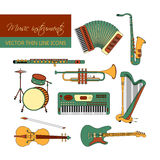 Vector color thin line icons with different music instruments Stock Photography