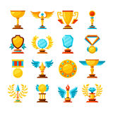 Vector color trophy and awards icons set on white Royalty Free Stock Photography