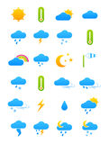 Vector color weather forecast icons set Stock Photos