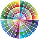 Vector color wheel. Color chart for prepress, printing, color theory, calibration business Royalty Free Stock Photo