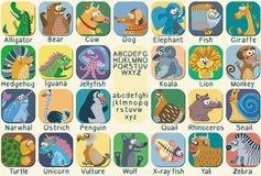 Vector color zoo alphabet with cute animals. Stock Images
