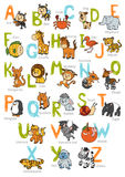 Vector color zoo alphabet with cute animals. On white background Royalty Free Stock Image
