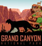 Vector Colorado river in Grand Canyon National Park with mountain lion and bighorn sheeps. Illustration Stock Images