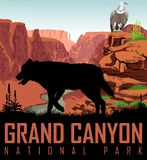 Vector Colorado river in Grand Canyon National Park with wolf and condor griffon vulture. Illustration Royalty Free Stock Images