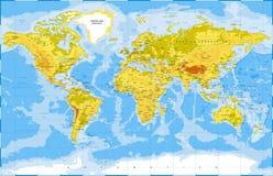 Vector coloreado topográfico físico político del mapa del mundo stock de ilustración