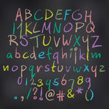 Vector colored alphabet in chalk royalty free stock photo