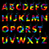Colored letters on a Black background. Vector of colored alphabet. Colored letters on a Black background Royalty Free Stock Image