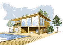 Vector colored background with modern wooden house Stock Image