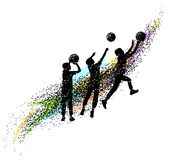 Basketball silhouettes dynamic royalty free illustration