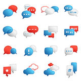 Vector Colored Chat Bubbles. A comprehensive set of all kind of chat bubbles. In shades of blue, red and white Stock Photos