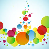 Bright background with circles. Vector colored circles flying up vector illustration