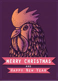 Vector colored cock for the New year 2017 on dark purple background. Royalty Free Stock Image