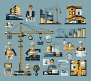 Vector colored construction icons set on a blue Royalty Free Stock Image