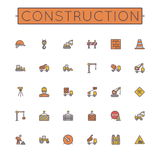 Vector Colored Construction Line Icons Royalty Free Stock Photography
