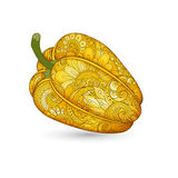 Vector Colored Decorative Bell Pepper with Beautiful Pattern Royalty Free Stock Images