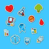 Vector colored diabetes icons stickers set illustration royalty free illustration