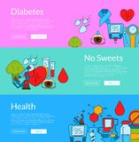 Vector colored diabetes icons web banner templates illustration. Horizontal poster collection royalty free illustration