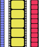 Vector colored filmstrip. Tree different  colored filmstrip Royalty Free Stock Images