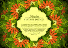 Vector Colored Floral Template with Place for Text Royalty Free Stock Image