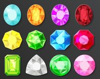Vector Colored gems diamonds set isolated. On black stock illustration