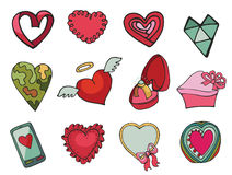 Vector colored  hearts set. Hand drawn Royalty Free Stock Images