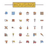 Vector Colored Housing Line Icons Stock Photo