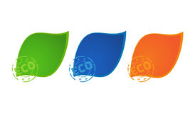 3 vector colored icons green blue and orange colors with printing eco.  Royalty Free Stock Photos