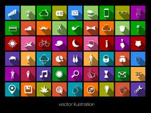 Vector colored icons with shadows Royalty Free Stock Images