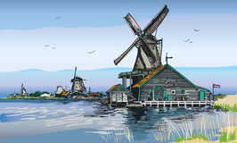 Vector colored illustration of watermill in Amsterdam. Graphic Vector hand drawing engraving colored illustration of watermill in Amsterdam Netherlands, Holland Stock Image