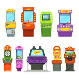 Vector colored illustrations of games machines. Driving simulator and different arcade games in amusement park. Game arcade machine, joystick simulator Royalty Free Stock Photos