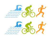 Vector colored linear silhouette triathlete Royalty Free Stock Image