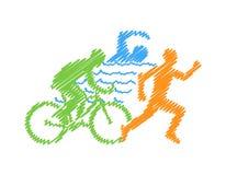 Vector colored linear silhouette triathlete Stock Photo