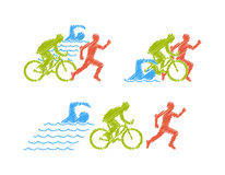Vector colored linear silhouette triathlete Stock Photography