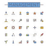 Vector Colored Management Line Icons. Isolated on white background Royalty Free Stock Photo