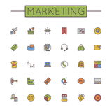 Vector Colored Marketing Line Icons Royalty Free Stock Image