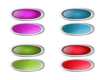 Vector colored oval buttons with pushed variants. Set of  colored oval buttons with pushed variants Stock Photo