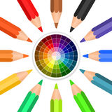 Vector colored pencils arranged in a circle. Illustration vector illustration
