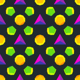 Vector colored polyhedrons seamless pattern Royalty Free Stock Photos