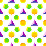 Vector colored polyhedrons seamless pattern Stock Image