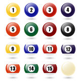 Vector Colored Pool Balls. Colored Pool Balls. Numbers 1 to 15 and zero ball.  on white. Vector EPS10 illustration Royalty Free Stock Photo